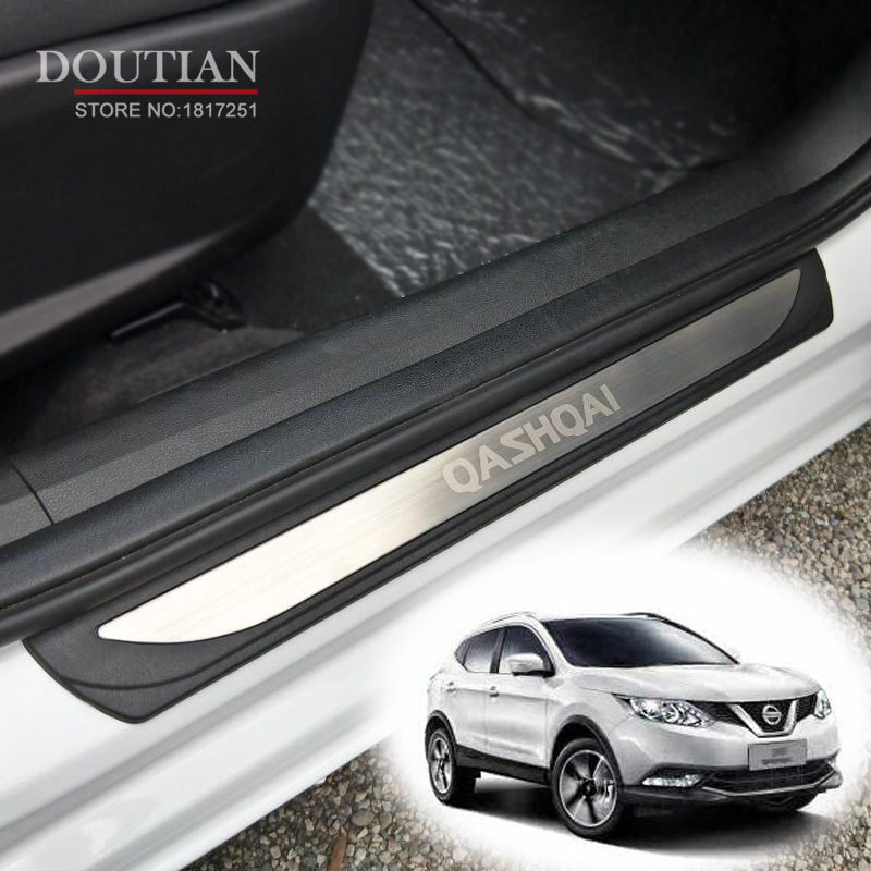 Stainless steel Door Sill Covers scuff plate guards protection For Nissan Qashqai J11 2017 2018 Car AccessoriesStainless steel Door Sill Covers scuff plate guards protection For Nissan Qashqai J11 2017 2018 Car Accessories