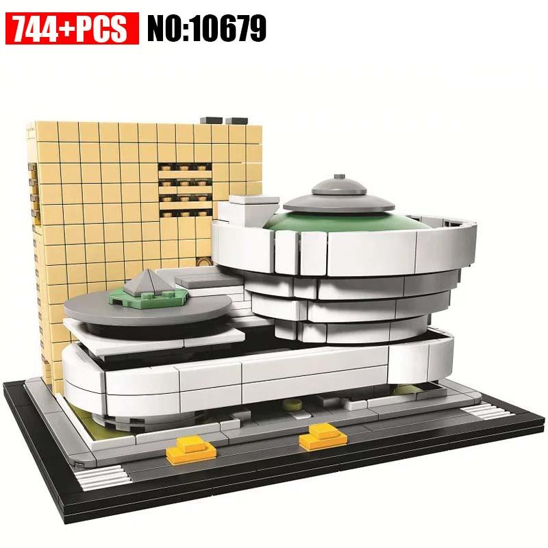 744Pcs Architecture Figures Solomon R.Guggenheim Museum Model Building Kit Blocks Bricks Girl Toys For Children Compatible 21035 architecture today