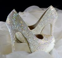 Crystal Rhinestones Wedding Shoes For Women 14cm 8cm 11cm High Heels Platforms Dress Parties Shoes TG376