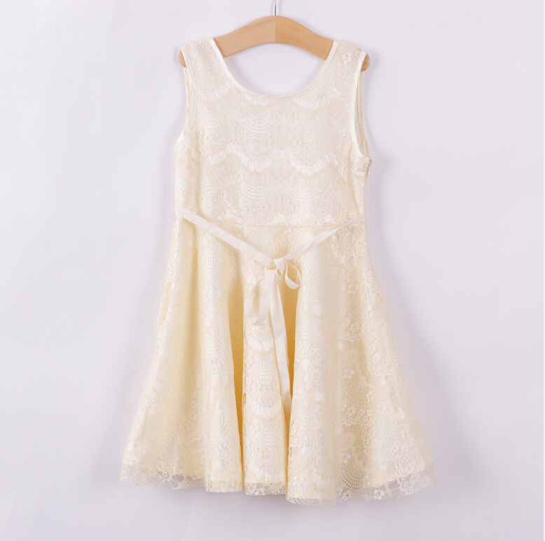 Summer New Style Fashion Girls Princess Party Dress Lace Sleeveless Beige Girl Dresses Elegant Children Kids Baby 2-11Y material girl new beige black hieroglyphic printed dress msrp $44 dbfl