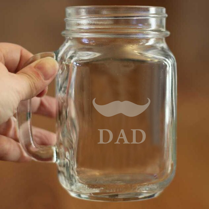 Cute Mustache Image of Mason Jar Glass Drinking Unique Gift for Fatheru0027s  Day Personalized Mason Jar