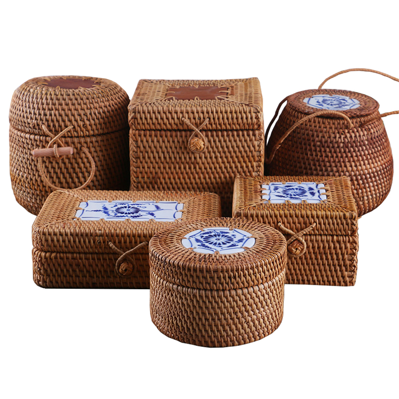 Rattan Storage Box With Lid Handmade Woven Wooden Organizer For Sundries Puer Tea Boxes Makeup Jewelry