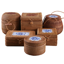 Rattan dokuma saklama kapaklı kutu el yapımı takı kutuları makyaj organizatör ahşap çeşitli eşyalar için puer çay durumda konteynerler hediye