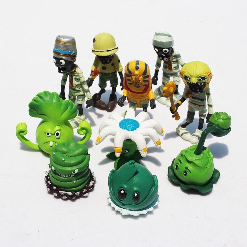 10pcs/set PVZ Plant VS Zombie Figure Toys 3-10cm Cabbage Pult Bucket Zombie PVC Dolls Figure Model Toys Free Shipping
