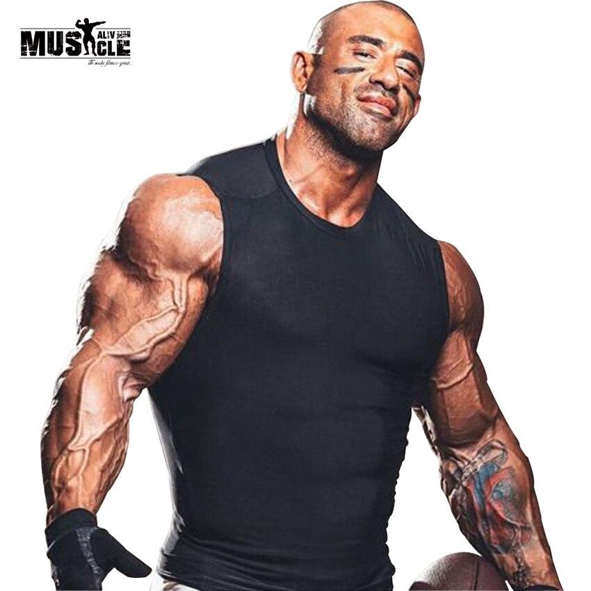 MUSCLE ALIVE 남성 T 셔츠 패션 2018 Tights T 셔츠 Lycra 브랜드 의류 Spandex 탑 섹시한 Tshirt Homme Skinny Undershirts