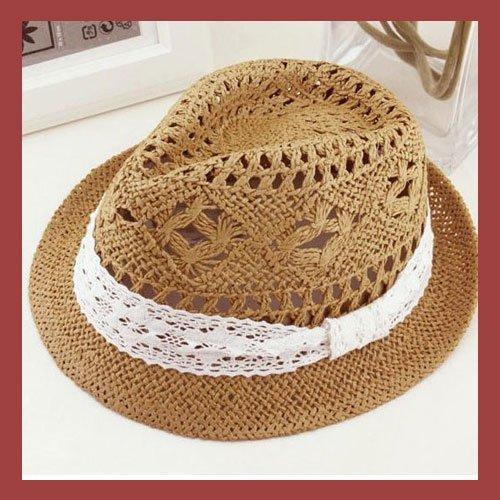 UPF+ womens western sun hat, straw fedora sunhat with lace,