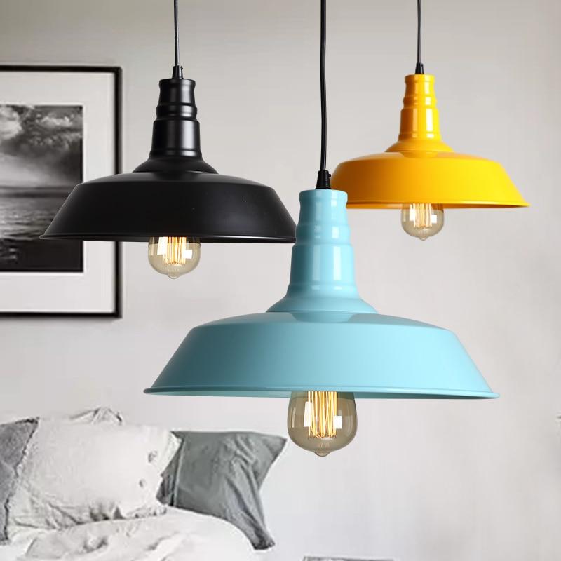 ФОТО Colorful Iron pendant lightss  American restaurant industry pendant lamp iron retro cafe bar loft single head light