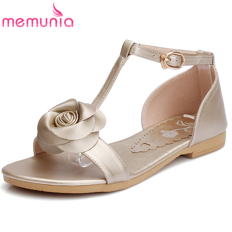 MEMUNIA 2018 fashion summer new arrival shoes woman buckle casual comfortable sandals women genuine leather shoes black gold memunia 2018 new arrive women summer sandals sweet bowknot casual shoes simple buckle comfortable square heele shoes woman