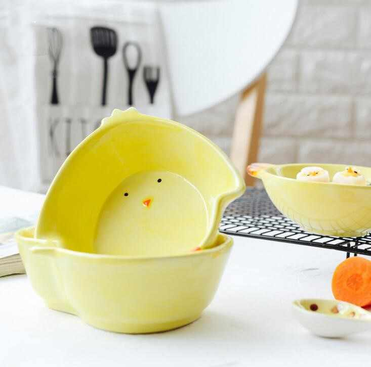 Techome Indah Kartun Ayam Mangkuk Tangan Dicat Anak Mangkok Keramik Peralatan Makan Anak Bayi Makan Mangkuk Buah Ringan Mangkuk