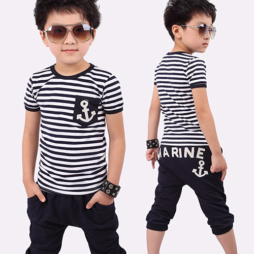 2016 Fashion Children Boys Navy Striped T-shirt with Pants Kids Summer Clothing Suit sun moon kids boys t shirt summer
