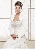 Elegant New 2017 White Black Ivory Cheap Satin Bolero Wedding Bridal Jacket Shawl Short Sleeve