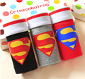 3pcs/set Free Shipping Cartoon Underwear Super Man Sexy Men's Cartoon Panties Boxer Shorts Plus Size