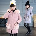 2016 Girls Jackets Coats New Arrivals Fashion Fur Hooded Thick Warm Parka Down  Kids Clothes Cotton Children's Outwear Clothing