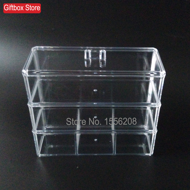 Multilayer clear jewelry storage box desktop cosmetic organizer