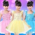 Nova primavera 2017 meninas de algodão ballet dança tutu dress para crianças desempenho sem mangas ginástica collant de balé traje ld113