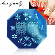 kai yunly 1PC Christmas DIY Image Stamp Stamper Plates Manicure Template Nail Art Plate Stamping Tools Printing Transfer Oct 2