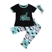 Summer New Baby Clothes Toddler Kids Girls Outfits Casual T-shirt +Ruffles Pants+Headband 2018 3pcs Set new