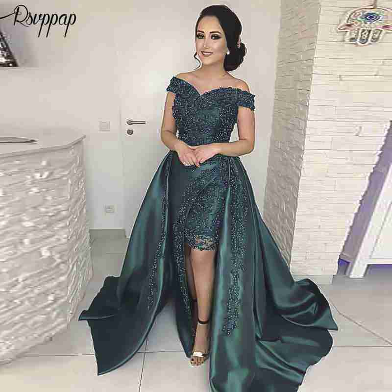 Long Evening Dress 2019 Gorgeous V-neck Cap Sleeve Pearls Arabic Style Emerald Green Formal Women Evening Gowns robe de soiree
