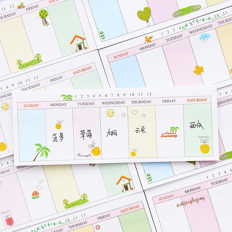 Fresh Long Stripe Week Organizer Memo Pads School Office Supply Message Plan Writing Sticky Notes Sticker Marker