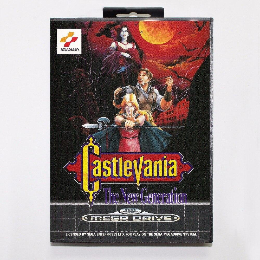 16 Bit Sega MD Spiel Patrone mit Kleinkasten-castlevania Die neue Generation Spiel Karte für Megadrive Für Genesis System