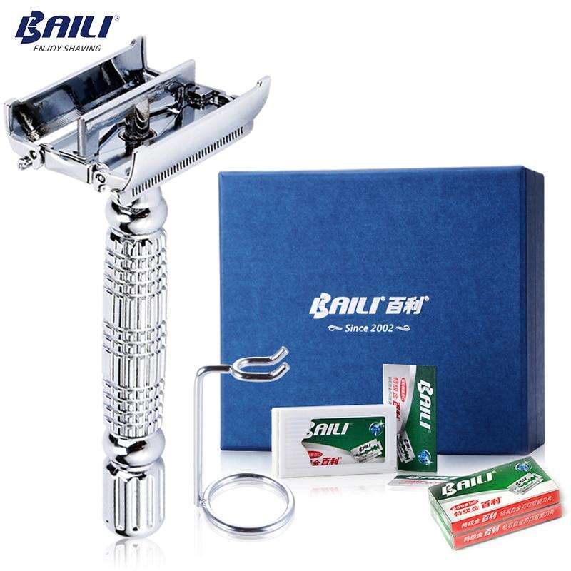 BAILI Luxury Classic High end Barber Manual Blade Safety Razor Holder Shaver Knife Set for Men Face Beard Shaving BD521L+BP001Brazor womensteel weststeel road bike frame -