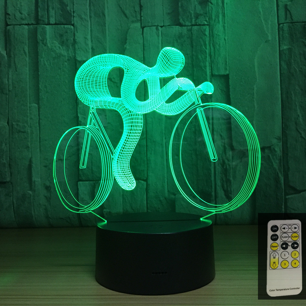 Remote Control Bicycle Ride 7 Color Lamp 3d Visual Led Night Lights For Kids Touch Usb Table Lampara Baby Sleeping Nightlight