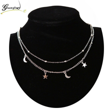 Fashion Double Layers Beads Moon Star Pendant Necklace For Women Jewelry Clavicle Chains Necklaces Collares Bijoux Hot Sale