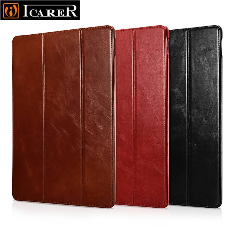 Case for iPad Pro 12 9 2017 Vintage Genuine Leather Ultra Slim Tri fold Smart Cover