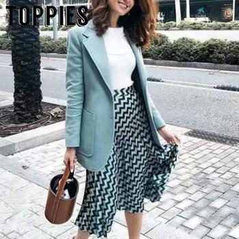 05dc5459f Otoño estampado geométrico plisado falda mujer alta cintura Midi ...