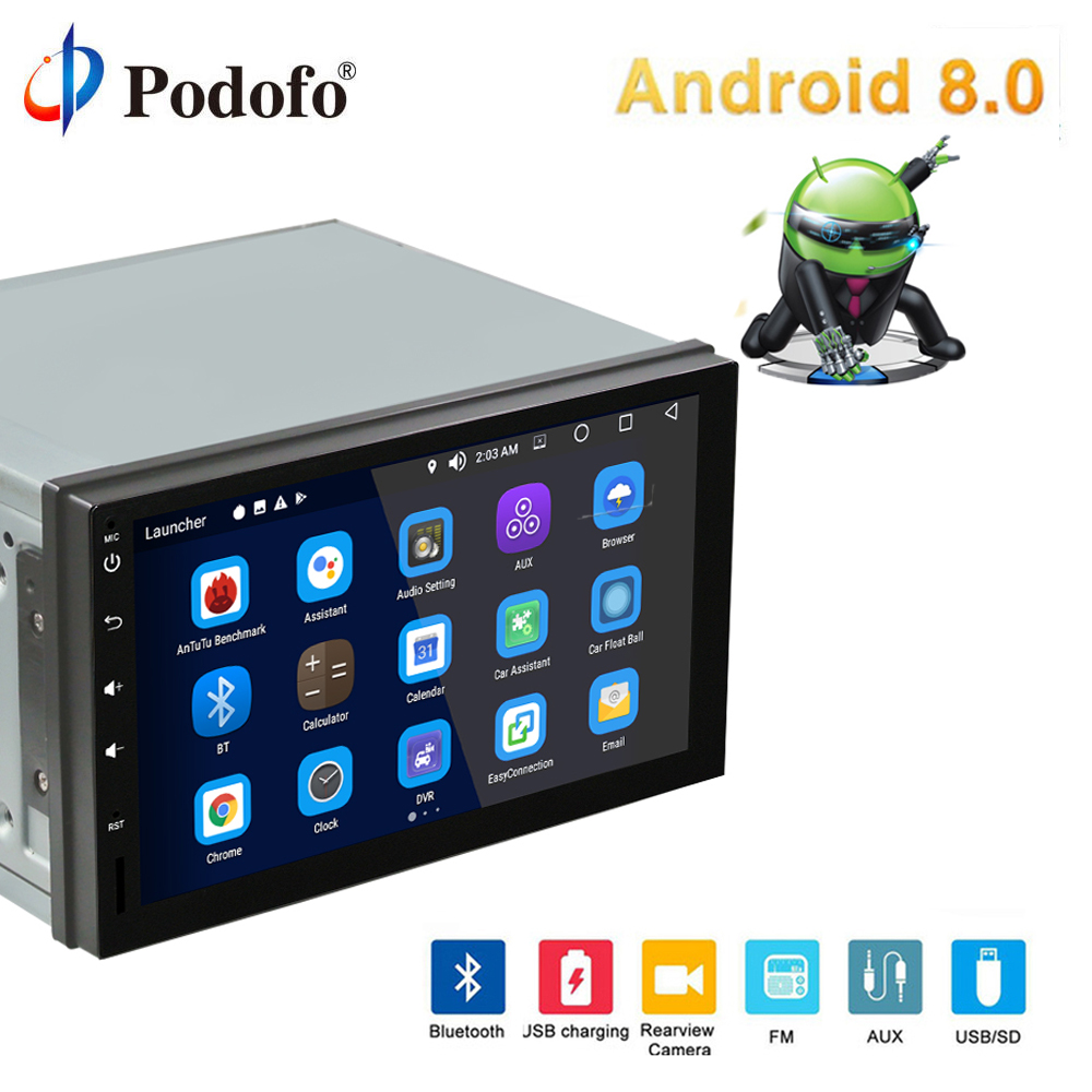 "Podofo 2 din Android 8.0 Car Multimedia Player GPS Navigation Car Radio Car Stereo 7"" Autoradio Bluetooth Wifi USB Audio 4G+32G"