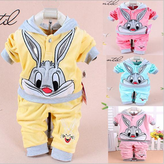 Hot baby clothing set 2015 Spring/Autumn baby's set cartoon rabbit boys girls clothes twinse suits hoodie pant children clothing keaiyouhuo newborn baby spring autumn girls clothes set rabbit cotton coat pants 2pcs set kid 0 2y girls pure clothes clothing