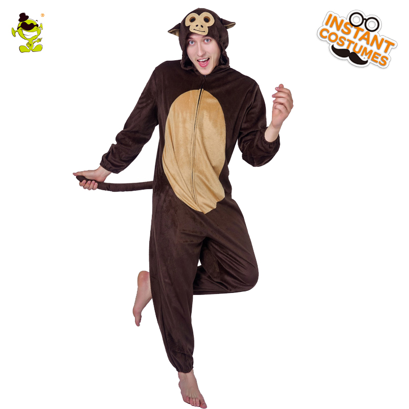 Adults Monkey Costume Jumpsuit Unisex Mens Ladies Female Fancy Dress