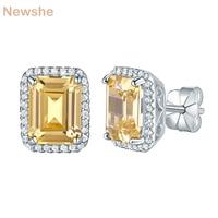 Newshe 925 Sterling Silver Stud Earrings Yellow Color Rhinestone 4 Ct AAA CZ Fashion Jewelry For Women JE37531