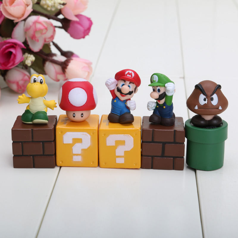 5pcs/set 5cm New Super Mario Bros Figures Bundle Blocks Figures Mario Goomba Luigi Koopa Troopa And Mushroom Pvc Toys