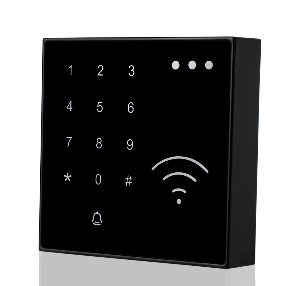 125KHz RFID Smart Card Reader NFC EM ID Reader Proximity With Doorbell Button Waterproof Touch Keypad For Access Control System for home security wg26 34 em id card reader 125khz door access control system with keypad for rfid card waterproof f1710a