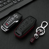 Leather Car Key Shape Car Key Case Cover For 2015 2016 2017 2018 Ford Fusion Mondeo