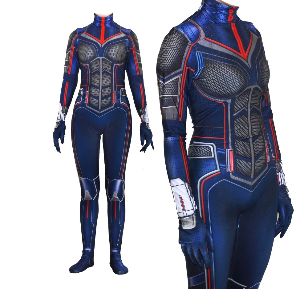 2019 Halloween Women Kids Movie Kostuum Cosplay Ant-Man and the Wasp Costume Zentai Bodysuit Suit Jumpsuits 3D Print Fullbody