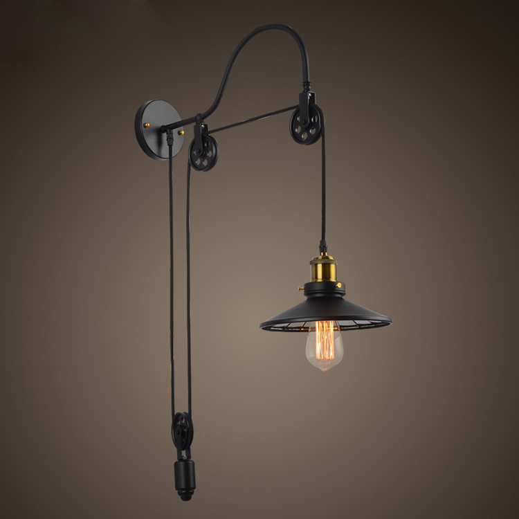 newest 3bd7f 1ba55 US $138.0 |Vintage Industrial Retro Ameican Country Pulley Adjustable  Edison Wall Sconce Lamp Bathroom Mirror Home Modern Lighting Fixture-in  Wall ...