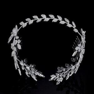 Image 4 - HADIYANA diadèmes et couronnes, joli motif de feuille à fleur, tendance, élégant pour femme, luxe de haute qualité, BC4763