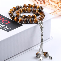 BFQ 100 Original Natural Tiger Eye Stone Agates Islamic Prayer Beads Muslim Tasbih Beads 33 Misbaha