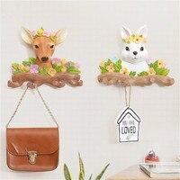 Creative Pastoral Hooks Wall Hanging Coat Hanger Rabbit Deer Head Modeling Living Room Wall Decoration Hanger Holder Brand New