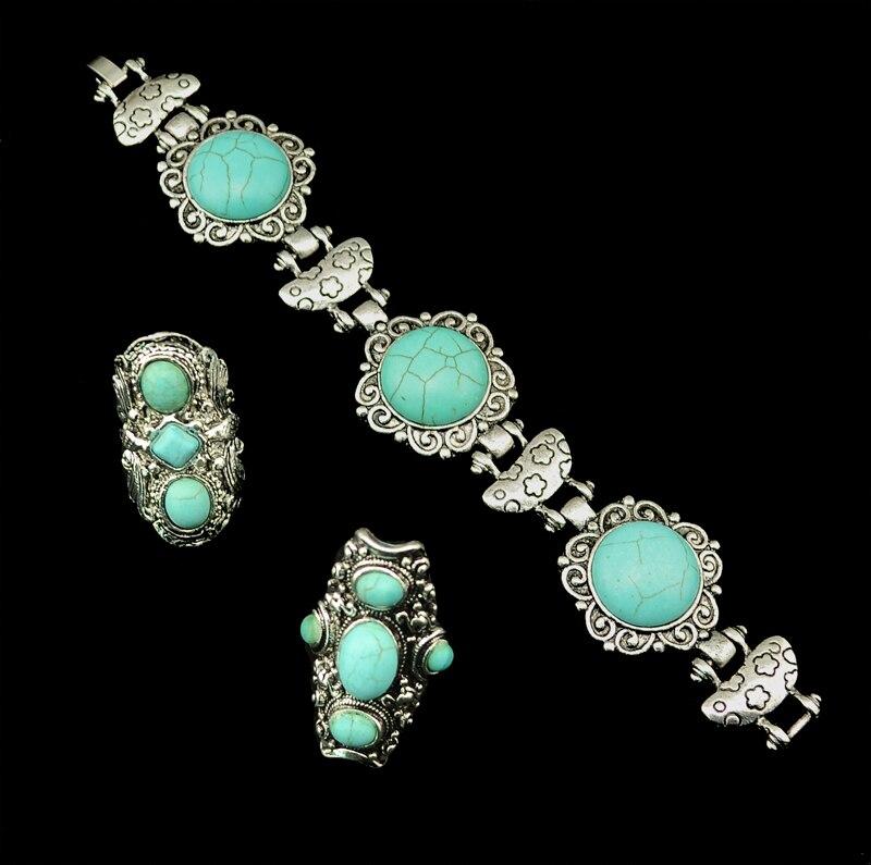285f4742046 Moda vintage prata flor escultura em pedra verde boho étnico declaração  pulseira para as mulheres (420)
