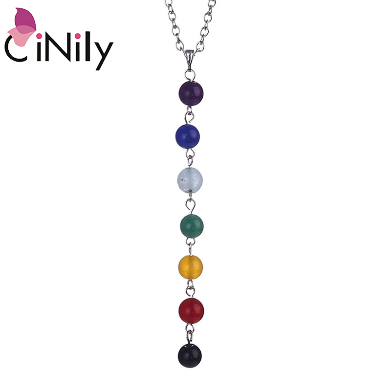 The Cheapest Price Cinily 7 Chakra Necklaces & Pendants White Gold Color Healing Balancing Reiki Rainbow Stone Beads Yoga Chain Power Woman Jewelry Outstanding Features