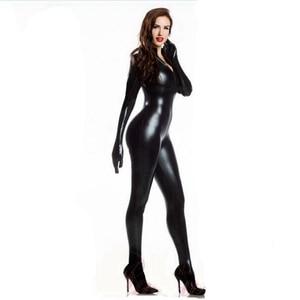 Image 2 - ผู้หญิงเซ็กซี่ Wetlook PVC Latex ชุดชั้นในบอดี้สูทถุงมือเปิดเป้า Clubwear เครื่องราง Catwoman หนัง Faux catsuit เครื่องแต่งกาย