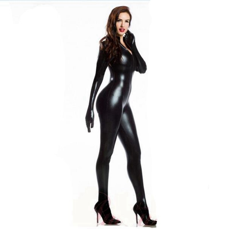 Image 3 - Women Sexy Wetlook PVC Latex lingerie bodysuit With gloves Open Crotch Clubwear fetish Catwoman Faux Leather catsuit costumes-in Teddies & Bodysuits from Novelty & Special Use