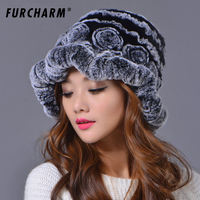2018 Women's Hats Autumn Female Rex Rabbit Fur Flower Knitted Caps Women Winter Elegant Beanies Paisley Pattern Real Fur Caps