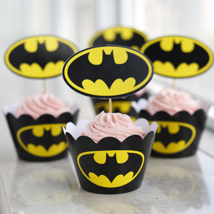 24pcsset event party supplies wedding decoration cupcake wrappers batman kid birthday party cup cake - Party Decoration Stores