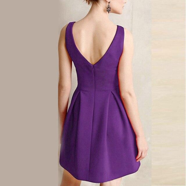 Women Dress Elegant Casual Party Dresses Red Yellow Purple Sleeveless Deep V Neck Formal Short Mini Dress 2018 Woman Dresses  5