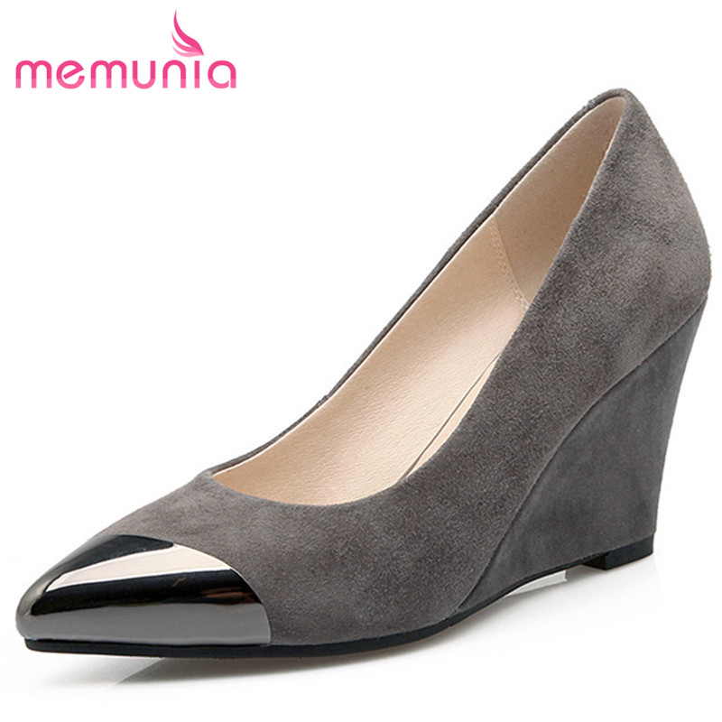 MEMUNIA Kid suede leather shoes pointed toe wedges high heels shoes spring autumn women pumps party shoes single fashion memunia 2017 fashion flock spring autumn single shoes women flats shoes solid pointed toe college style big size 34 47