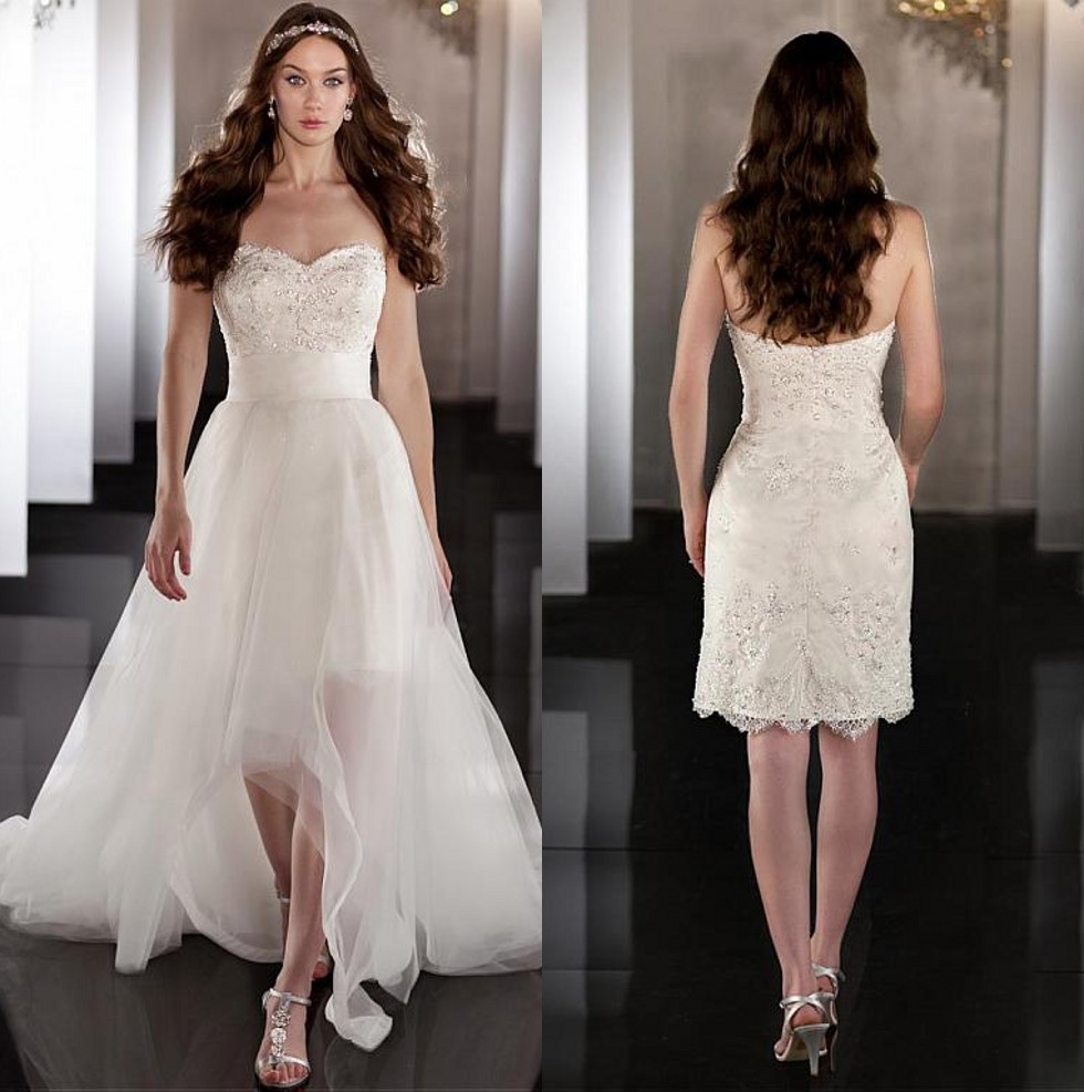 Beaded Wedding Dress With Detachable Train: High Low 2 In 1 Over Skirt Wedding Dresses Detachable